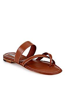 Manolo Blahnik - Flat Leather Criss-Cross Slide Sandals