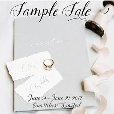 """""""S A M P L E  S A L E  We are making room for our 2018 vow book line and are having a sample sale starting NOW through WEDNESDAY next week! Each sample vow book in the sale is half off normal price from June 14 - 21, 2017.  Yes, you heard that right! We are having a BIG sample sale starting now, something we have never done before!  If you have a specific vow book that you are in love with, we invite you to see if it's one of the sale bunch. Just click on the link in our profile…"""