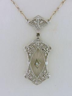 Beautiful Antique 14K White Gold Camphor Glass & Diamond Filigree Necklace │JK