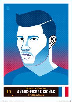 Héros du Foot 2016 - Football Heroes 2016 - France - André-Pierre Gignac Andre Pierre, Foot 2016, Football, France, Sports Art, Illustration, Artwork, People, Movies