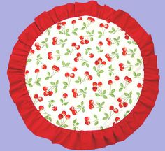 Fun and cheerful, this reversible doily will be just the thing to dress up your kitchen table! With cherries on one side, and red-and-white gingham on the reverse, you can change your mind about which side you want to use on top.