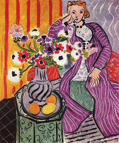 """.... posso almeno sognare? """" ... cercò di raffigurarsi la sua vita, quella vita clamorosa, straordinaria, splendida, che anche lei avrebbe pur potuto avere, se il caso l'avesse voluto."""" Gustave Flaubert - Madame Bovary L'immagine è il quadro di Henry Matisse - Purple Robe and Anemones - Robe violette et Anemones 1937 #GustaveFlaubert, #MadameBovary, #sogni, #caso, #destino, #italiano,"""