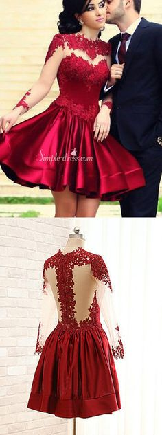 Elegant A-line Crew Long Sleeves Short Dark Red Lace Prom Homecoming Dress