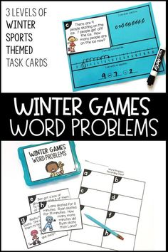 3 Levels of winter sports themed task cards, addition and subtraction within 10 and 20