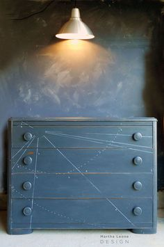 a dresser inspired by astronomy, painted furniture Painting Old Furniture, Furniture Update, Hand Painted Furniture, Repurposed Furniture, Grey Dresser, Modern Dresser, Chalk Wall, Vintage Dressers, Constellations