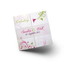 Exklusive Hochzeitseinladung auf Leinenpapier - edle Schmetterlinge