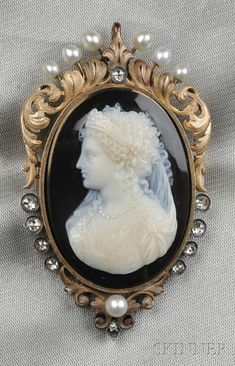 Antique 18kt Gold, Hardstone Cameo, and Diamond Pendant/Brooch   Sale Number 2550B, Lot Number 186   Skinner Auctioneers