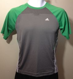 Adidas Boys Medium Athletic Workout T-Shirt Gray/Green/White