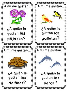 """Great morning meeting game for a Spanish immersion classroom.  Students start by asking """"A quien le gustan...(las manzanas)?""""  The student with that picture on their card has to respond """"A mi me gustan las manzanas."""" In the plural so students can practice that form of gustar correctly"""