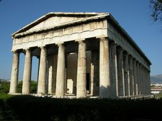 The Ancient Greek Temple of Hephaestus, 415 BC, located in Athens, Greece.