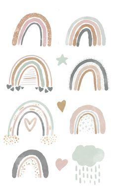Rainbow Png, Rainbow Clipart, Rainbow Baby, Baby Girl Nursery Decor, Boho Nursery, Nursery Modern, Baby Shower Clipart, Clipart Baby, Image Deco