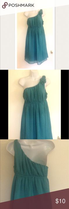 MERONA Dress Jade Green S Cute little party dress from MERONA. Elastic band at bodice. Single wide shoulder strap with five ribbon roses. Empire waist with elastic.  100% polyester. Concealed side zipper. Hits just at the knee. Worn once. Merona Dresses One Shoulder