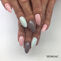 23 Beautiful Nail Art Designs and French Manicure in Acrylic and Gel polish.Trending summer nail pattern. Blue, Pink, Purples Rainbow, Coral, Floral colors. pink gray pastel blue French nail ideas.