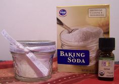 Homemade Deodorizing Air Freshener      Here is what you will need:  Baking Soda  Essential Oil, your choice of  scent      I used a 4 oz glass canning jar and lemon and orange essential oils.      Pour baking soda into jar, fill to rim.  Shake 20 drops, or more, of essential oil into jar. Stir.   You can either add a lid, or not!