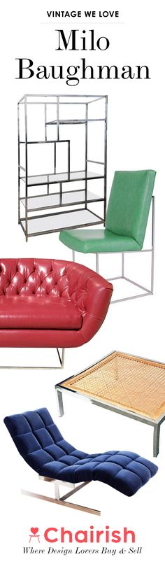Milo Baughman is easily one of the most recognizable names in Mid-century Modern and contemporary furniture design. Whether it's an iconic lounge chair or sofa, a classic Milo Baughman piece adds beautiful form and useful function. Shop Chairish for authentic Milo Baughman furniture and decor.