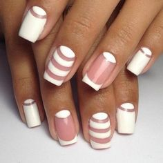 Accurate nails, Festive nails, Nail art stripes, Nails by striped dress, Original nails, Romantic nails, Spectacular nails, Striped nails