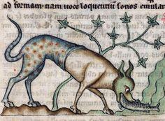 Medieval crocodile, De Natura animalium, Cambrai ca. 1270 (Douai, Bibliothèque municipale, ms. 711, fol. 11v)