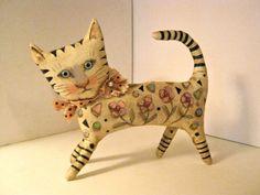 cat art fabric sculpture doll, sandy mastroni ,  stands on  shelf  art doll,