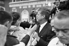 President John F. Kennedy mingles with the crowd in front of Fort Worth's Hotel Texas before delivering a speech on November 22, 1963. Courtesy of the Fort Worth Star-Telegram Special Collections.