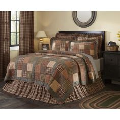 King Bed Skirt Brick Burgundy Tan Check Homespun Dust Ruffle Cotton Bedding