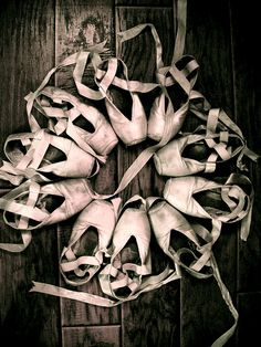 A year's supply of point shoes. It's amazing how fast these pointe shoes wear out.