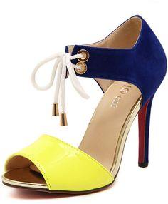 Yellow High Heel Bandage Sandals