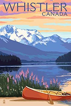 Lake Scene and Canoe - Whistler, Canada (12x18 Art Print, Wall Decor Travel Poster)