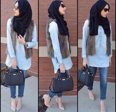fur vest hijab style, Street styles hijab looks http://www.justtrendygirls.com/street-styles-hijab-looks/