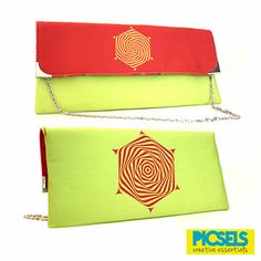 Psychedelic Flower clutch: Red & Green. For details and orders please email us at picselsce@gmail.com