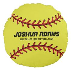 Shop Yellow Red Softball Sports Team Round Pillow created by raindwops. Sports Birthday, Baseball Birthday, Baby Birthday, Birthday Ideas, Yellow Throw Pillows, Soft Pillows, Softball Senior Pictures, Senior Guys, Senior Photos