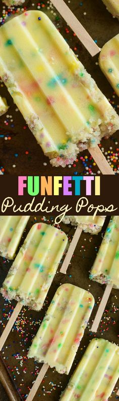 Funfetti Cake Pudding Pops: quick creamy sweet vanilla pudding pops are stuffed with rainbow sprinkles and bites of funfetti cake you bake in the microwave! Remember funfetti cake, also sometimes calledconfetti cake? How about pudding pops? Imagine those two childhood favorites combined and you get Funfetti Cake Pudding Pops! I had seen some funfetti pudding …