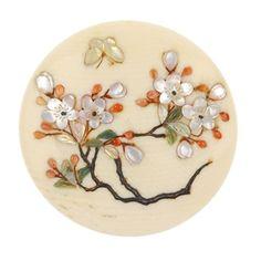 LOT:61 | A set of six late 19th century, Japanese Shibayama ivory buttons.