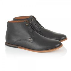 FRANK WRIGHT - Smith Black Leather Lace Up Boot - £75
