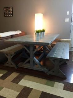 Our 6' Farmhouse X Table (Slightly Modified) | Do It Yourself Home Projects from Ana White