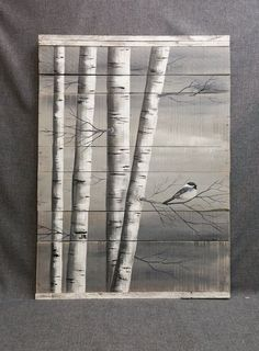 Gray Pallet Art White Birch Painting LARGE by TheWhiteBirchStudio #artsandcrafts