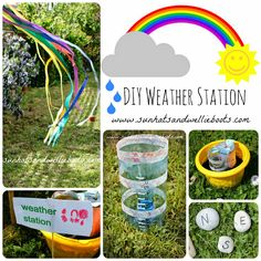 DIY Weather Station for Kids to Make {from Sun Hats & Wellie Boots}. Gives students an opportunity to create their own weather station to collect data on weather conditions. Weather Activities For Kids, Forest School Activities, Weather Science, Weather Unit, Weather And Climate, Outdoor Activities For Kids, Outdoor Learning, Science For Kids, Science Activities