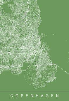 COPENHAGEN CITY MAP Art Print Line Art by EncoreDesignStudios