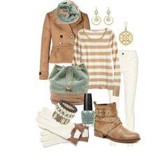 Tan and green winter outfit