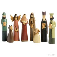 Painted Wood Folk Nativity Set, Indonesia-Indonesian Folk NativityAlstonia Wood Hand carved from Alstonia, a tropical evergreen tree native to Indonesia, this contemporary nativity features eight figures, simply ornamented and painted in muted tones. Christmas Nativity Scene, Nativity Scenes, O Holy Night, Nativity Crafts, Christmas Decorations, Christmas Ornaments, Christmas Elf, Little Christmas, Wood Carving