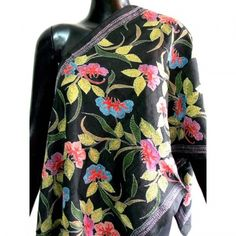 Traditional kantha embroidery from India at its best in this black tussar silk stole
