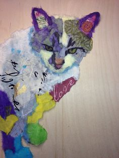 Duckie created from torn paper. Pet Portrait Artist Robin Panzer