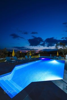 Pool by night, Thassos, Greece