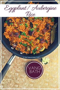 Vangi Bath (Eggplant Rice/Aubergine Rice) is a popular rice-based delicacy from the Karnataka cuisine where small pieces of aubergine is cooked with select spices (vangi bath masala) and mixed with rice making it a meal in itself. Rice Recipes, Indian Food Recipes, Sweet Recipes, Top Recipes, Easy Recipes, Indian Foods, Delicious Desserts, Yummy Treats