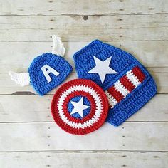 Crochet Baby Captain America Hat Beanie Shield Cape Set Superhero Newborn 0-3 Months Diaper Cover Optional Photography Photo Prop Gift