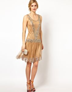 Frock and Frill Sequin Embellished Dress with Deep V Back