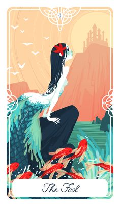 """Poster+size++12""""+x++16""""  The+Fool+for+The+Fairytale+Tarot+deck.+ This+is+the+story+of+the+Little+Mermaid"""