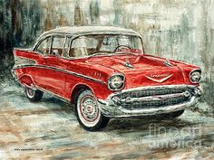 Title  1957 Chevrolet Bel Air Sport Coupe   Artist  Joey Agbayani   Medium  Painting - Acrylic On Canvas