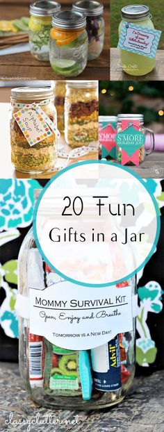 20 Fun Gifts in a Jar. 20 Fun Gifts in a Jar- Great ideas for neighbors, friends and holiday gifts. Diy Holiday Gifts, Xmas Gifts, Christmas Diy, Handmade Christmas, Christmas Presents, Holiday Ideas, Christmas Wrapping, Christmas Recipes, Mason Jar Gifts