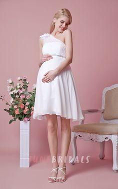 One Shoulder Empire Waist Short Chiffon Dress With Flower
