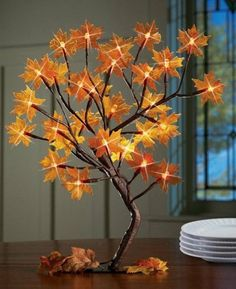 Gorgeous fall leaf-inspired lamp | DIY Decorating Ideas With Actual Fall Leaves